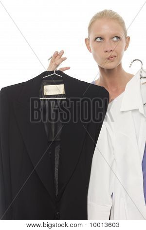portrait of a young caucasian woman dubtfull with jacket and shirt