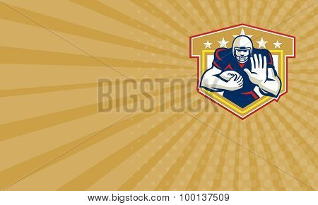 Business Card American Football Running Back Fending Shield