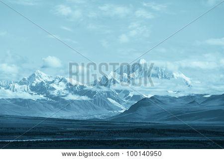 Denali (McKinley) peak in Alaska, USA.Instagram filter.