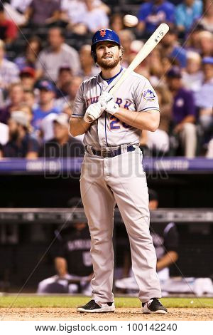 DENVER-AUG 21: New York Mets infielder Daniel Murphy stands at the plate during a game against the Colorado Rockies at Coors Field on August 21, 2015 in Denver, Colorado.