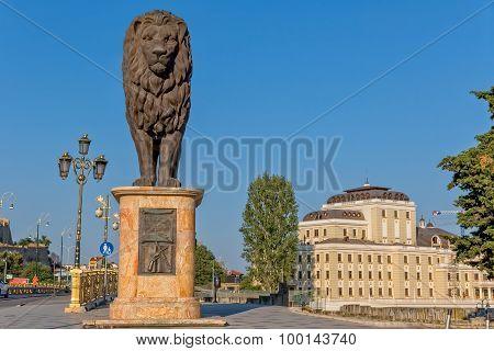 Skopje western lion statue
