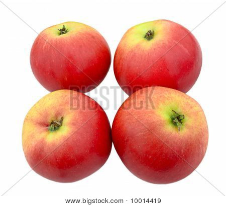 Four Red Apples With A Green Blush