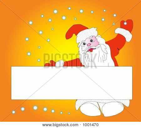 christmas santa claus with stand. vector illustration poster