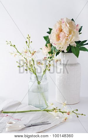 Preparing Orchids Cut Flowers In Vases For Home Decoration