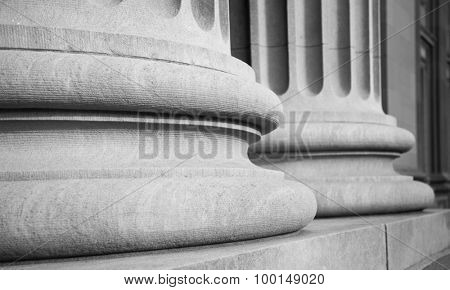 Architectural Columns in a Classic Federal Building in Black and White