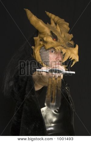 male dragon slayer with sword (self portrait)... poster