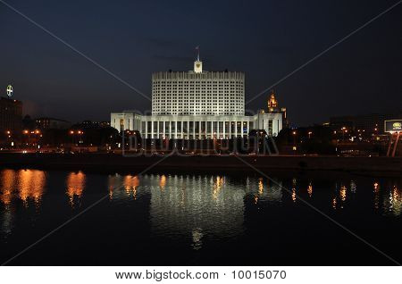 Russian White House (government Building In Moscow) At Night