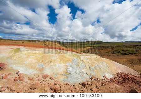 Extremely vivid multicolored land at geothermal area Seltun near Krysuvik, Reykjanes peninsula - Iceland. Panoramic photo poster