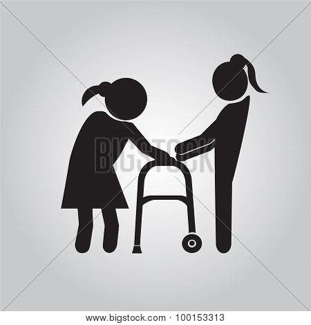 Woman Helps Elderly Patient With A Walker