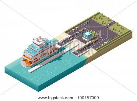 Isometric icons representing unloading ferry in harbor