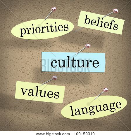 Culture word pinned to a bulletin board surrounded by shared pirorities, values, beliefs, and language of an organization, company, religion or society