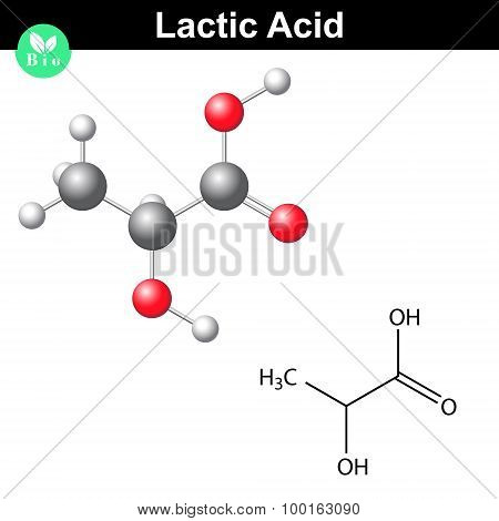 Lactic acid molecule, lactate structural chemical formula and model, 2d and 3d vector isolated on white background, eps 8 poster