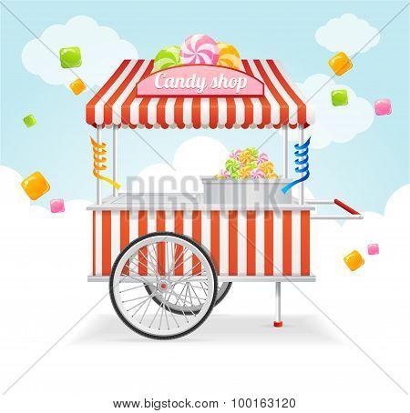 Candy Cart Market Card. Vector