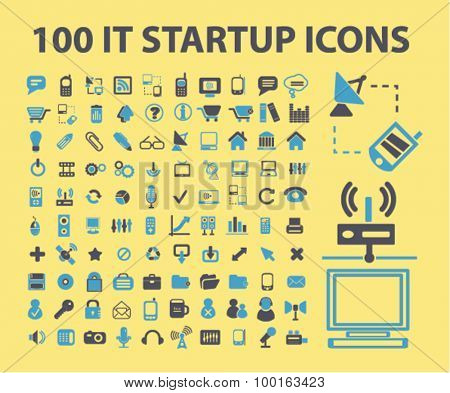 100 information technology, startup, business, marketing icons, signs, illustrations set, vector poster