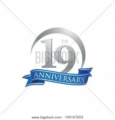 19th anniversary ring logo blue ribbon
