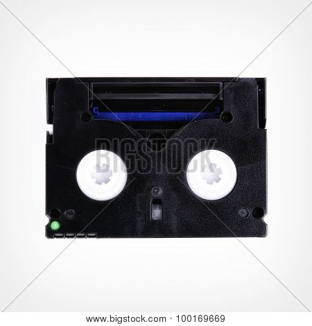 Cassette Into The Camera On A White Background