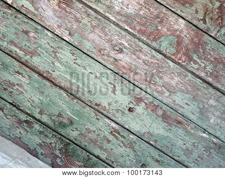 Detail Of An Old  Diagonal Wooden Fence