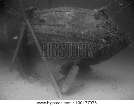 Retro Style Underwater Shot Of Sunked Fishing Ship