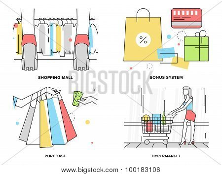Shopping At Mall Flat Line Illustration