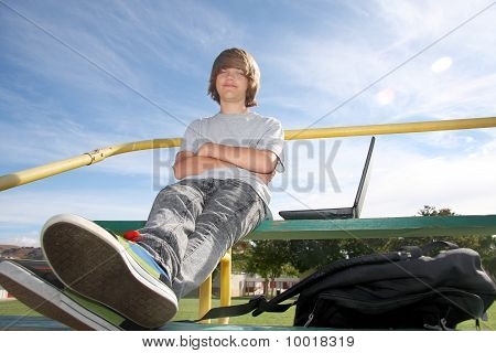 Cute Teen On Bleachers