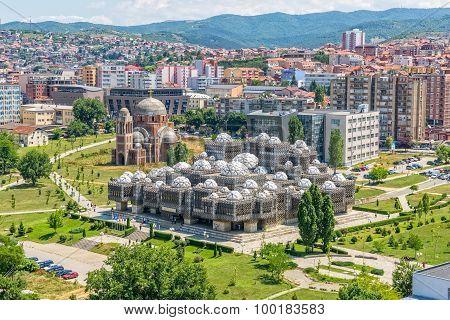 Pristina old buildings aerial