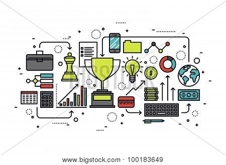 Growth Business Line Style Illustration