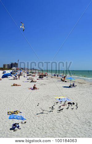 Clearwater Beach, Florida, USA - May 12, 2015: tourists on the beach enjoying the sun