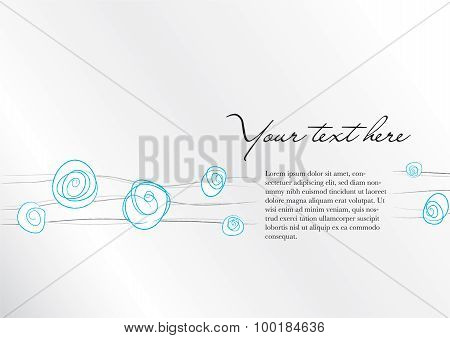 Background With Abstract Floral Blue And Gray Elements