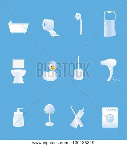Bathroom Equipment Set Of White Icons On Blue Background
