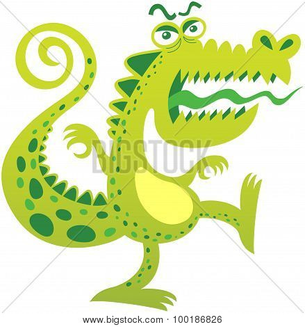 Angry crocodile protesting and yelling furiously