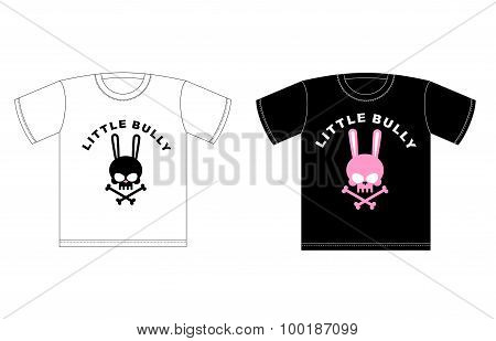 Emblem Of Little Hooligans. T-shirt Design. Cute Rabbit Skull With Bones