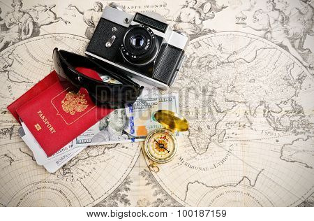 Main travel items for journey over mediaval world map
