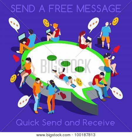 Free Chat Set People Isometric