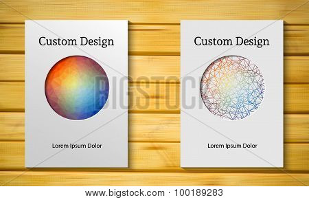 Vector design template with circle frame on light realistic wooden desk