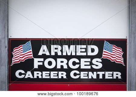 NEWTON, NJ-JUL 2015: Close Up of the Armed Forces Career Center sign outside the military recruitment station for the Army, Navy, and Air Force in Newton, NJ.