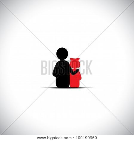 father daughter together relationship bonding - vector icon. This also represents sharing love human touch friendly embrace empathy compassion presence listening understanding patience poster