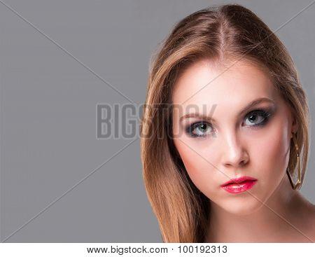 Close-up portrait of sad beautiful girl