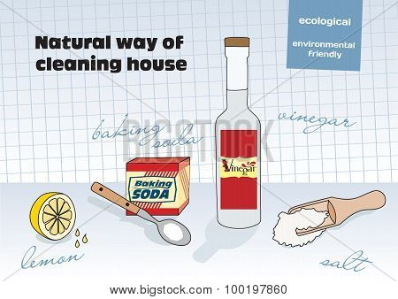 Natural Way Of Cleaning House; Vinegar, Lemon, Salt, Baking Soda