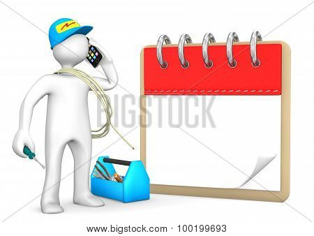 Phoning electrician with smarthone on the white with notepad. poster