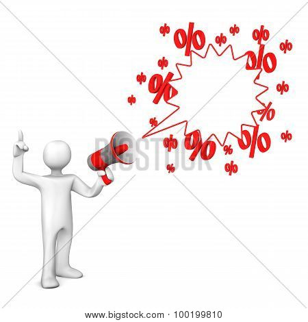 Manikin Bullhorn Speech Bubble Sale