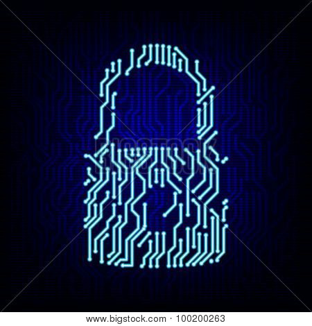 Security concept. Circuit board lock vector illustration.