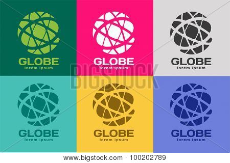 Globe logo. Globe icon. Globe vector. Globe illustration. Globe silhouette. Abstract globe. Colored globe. Globe icons set. Orbit near globe. Star globe