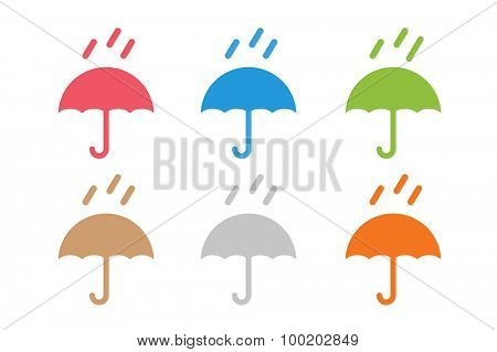 Vector umbrella logo. Umbrella icon, colored umbrella isolated, umbrella logo set, umbrella and rain symbol, umbrella silhouette shape, umbrellas weather icon, umbrella interface element