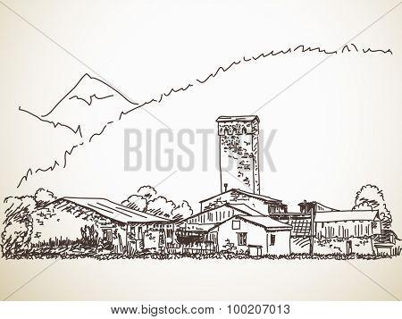 Svan tower, Svaneti, Georgia. Hand drawn sketch. Vector illustration