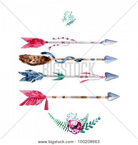 Vector Watercolor Arrow Set  With Hand Painted Leaves. Watercolor Leaf Branch backdrop. Text Frame.