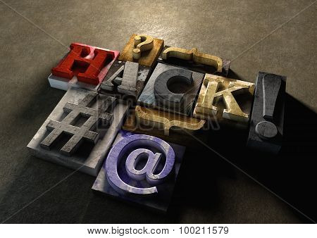 The Word Hack Made From Colorful Grunge Textured Wooden Printing Blocks Packed Tightly Together.