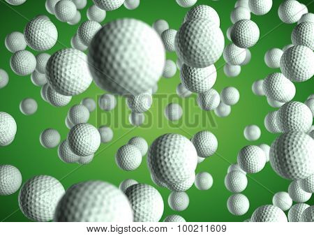 Lots Of Golf Balls Flying Through The Air On Green Background