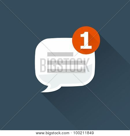 Incoming message (notification) icon - rounded square speech bubble poster