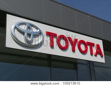 Toyota Sign And Letters At The Facade Of A Toyota Garage