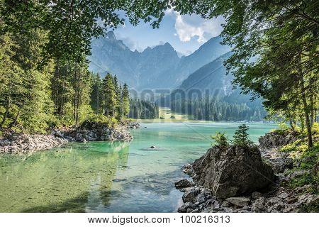 alpine lake Di Laghi Fusine . Dolomites . Italy